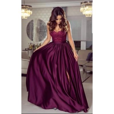 Rochie lunga eleganta cu umeri goi bretele subtiri top dantelat burgundy