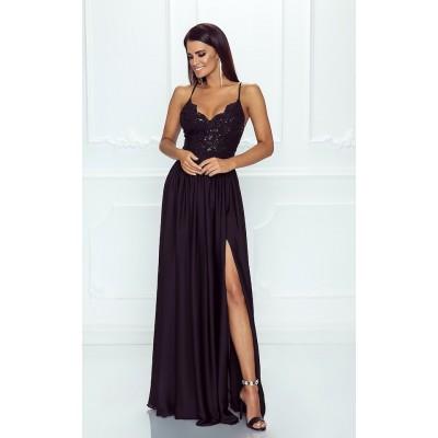 Rochie lunga eleganta cu umeri goi bretele subtiri top dantelat neagra