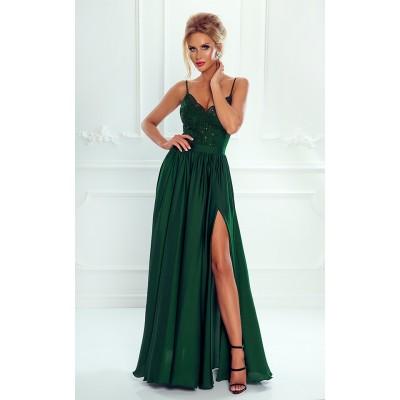 Rochie lunga eleganta cu umeri goi bretele subtiri top dantelat verde