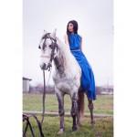 Rochie delicata cu spatele gol lunga albastra