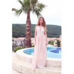 Rochie eleganta din voal cu dantela roz nude
