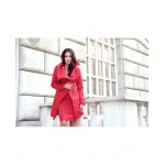 Jacheta rosie asimetrica cu fermoar cambrata