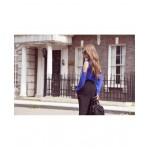 Camasa cu maneca lunga si umeri decupati albastra