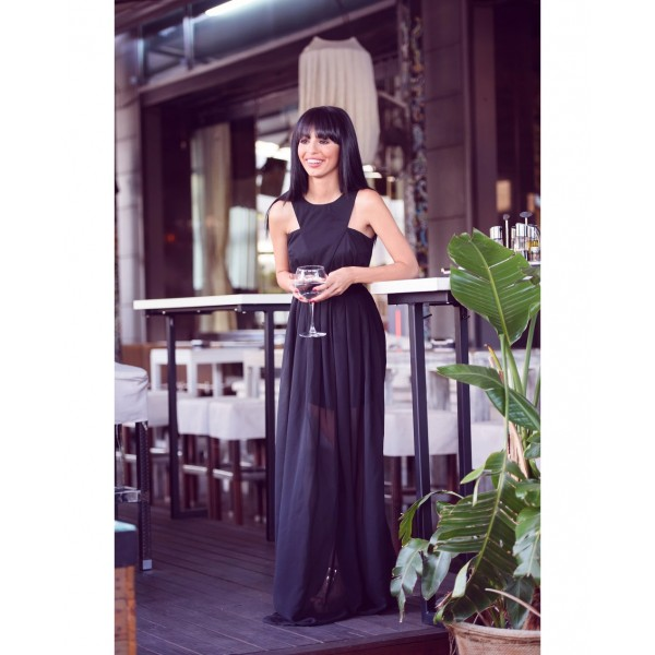 Rochie eleganta neagra lunga cambrata cu prindere pe gat delicata