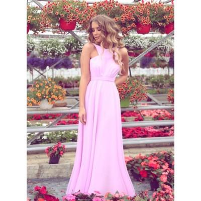 Rochie lunga eleganta lejera roz