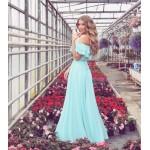 Rochie lunga eleganta lejera bleu cu volane pe umeri