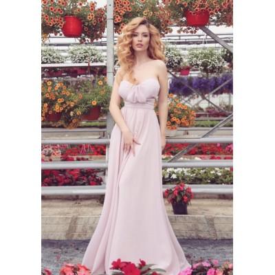 Rochie lunga eleganta lejera roz sexy fara bretele