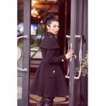 Palton negru clasic delicat cu nasturi metalici