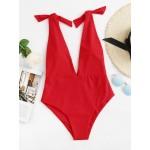 Costum intreg de baie rosu cu spatele gol