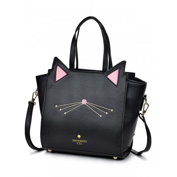 Geanta neagra din piele ecologica simpatica cu urechi pisica