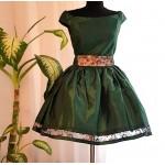 Rochita verde sidef scurta eleganta cu tulle si fusta clos