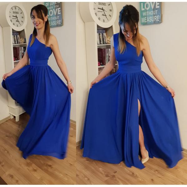 Rochie eleganta lunga albastra cu un umar gol si slit adanc