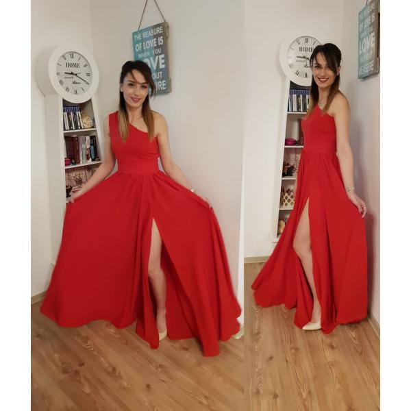 Rochie eleganta lunga rosie cu un umar gol si slit adanc