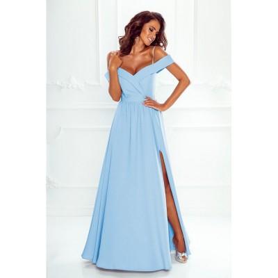Rochie eleganta lunga cu umeri goi slit pe picior si bretele subtiri albastru deschis