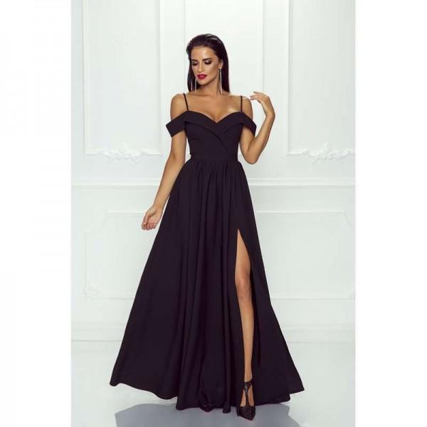 Rochie eleganta lunga cu umeri goi slit pe picior si bretele subtiri neagra