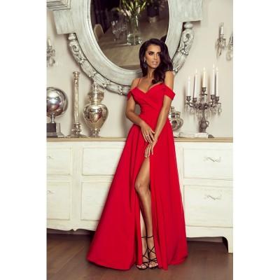 Rochie eleganta lunga cu umeri goi slit pe picior si bretele subtiri rosie