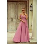 Rochie eleganta lunga cu umeri goi slit pe picior si bretele subtiri roz prafuit