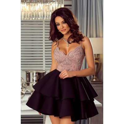 Rochie scurta sexy cu top decoltat si bretele subtiri roz prafuit cu fusta neagra