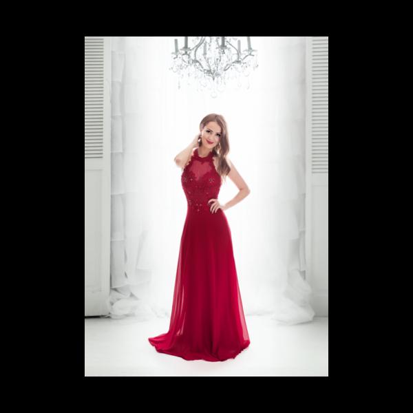 Rochie eleganta clasica rosie din voal si dantela cu spatele gol