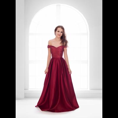 Rochie eleganta lunga bordo clasica cu bust sclipici si fusta clos