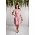 Rochie eleganta scurta cu un umar gol si fusta voal roz prafuit
