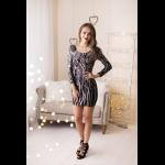 Rochie eleganta scurta sexy mulata cu spatele gol negru si argintiu
