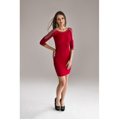 Rochie eleganta sexy mulata rosie cu spatele gol