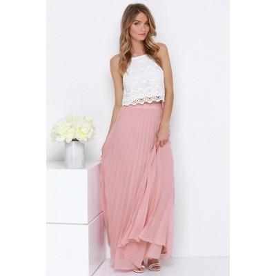 Fusta eleganta lunga roz in pliuri delicate