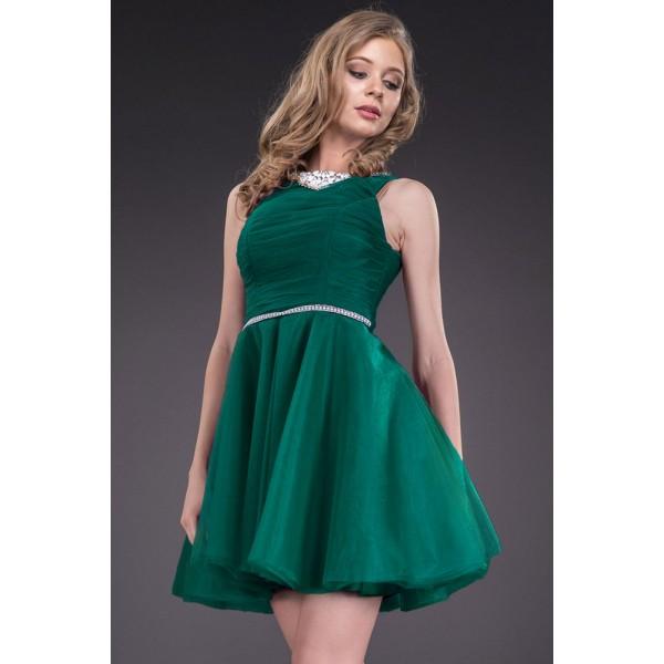Rochita de banchet scurta cu talie accentuata verde