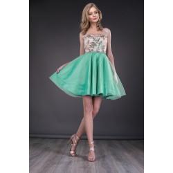 Rochita scurta cu bust tip corset si fusta din tulle verde