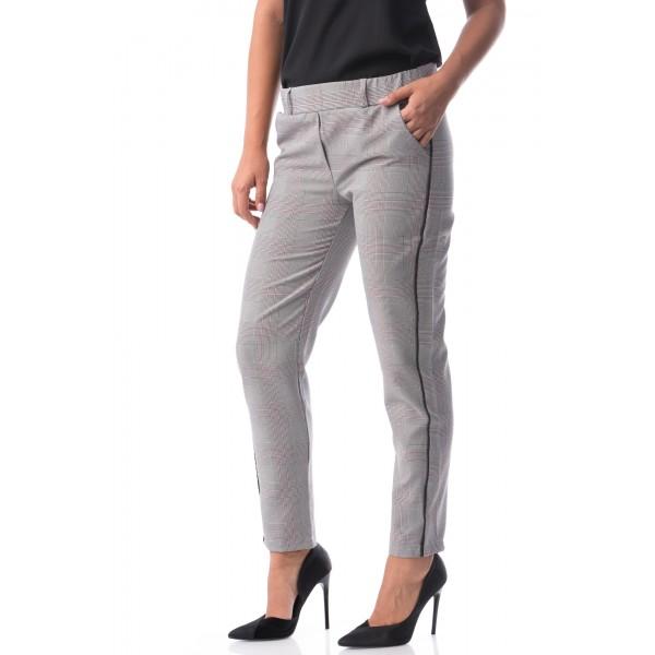 Pantaloni clasici eleganti cu imprimeu carouri gri si roz