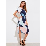 Camasa tip rochie cu model geometric colorat lejera de vara