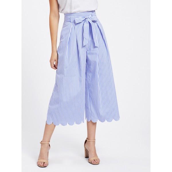 Pantaloni largi trei sferturi bleu cu prindere cordon