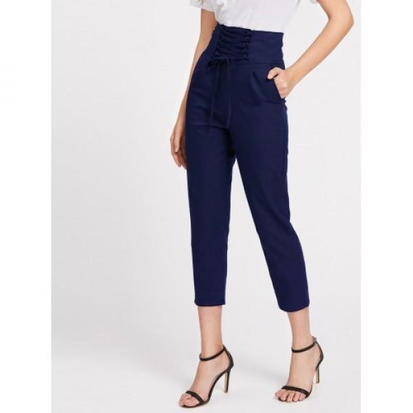 Pantaloni navy trei sferturi cu talie inalta
