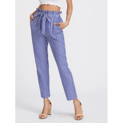 Pantaloni slim bleu cu prindere cordon si talie inalta