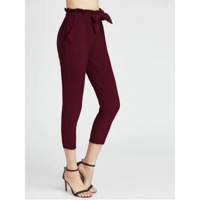 Pantaloni visinii cu talie inalta trei sferturi