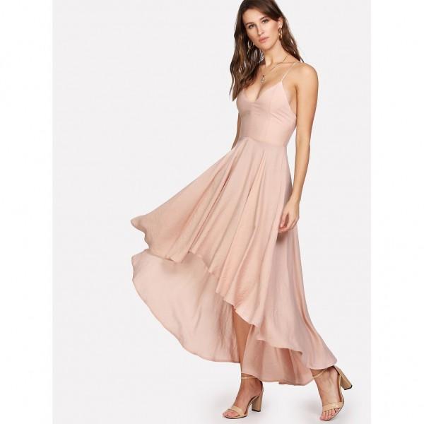 Rochie eleganta cu fusta lejera prindere reglabila si spate gol nude