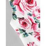 Rochie scurta cambrata cu fusta clos alba model trandafiri