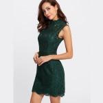 Rochie scurta sexy cu spatele gol eleganta din dantela verde