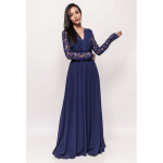 Rochie eleganta lunga cu maneci lungi dantela si spate gol albastra