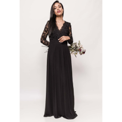 Rochie eleganta lunga cu maneci lungi dantela si spate gol neagra