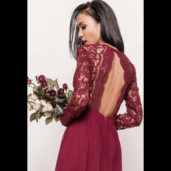 Rochie eleganta lunga cu maneci lungi dantela si spate gol wine