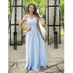 Rochie eleganta lunga clasica in nuanta bleu cu umeri goi si fusta ampla