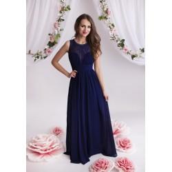 Rochie eleganta lunga in nuanta navy cu dantela in partea superioara