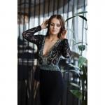 Rochie eleganta neagra cu spatele gol maneci lungi si detalii perlate si cu dantela