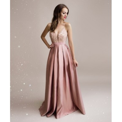 Rochie lunga eleganta rose cu decolteu adanc si spate gol