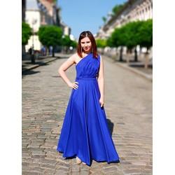 Rochie eleganta lunga pe un singur umar albastru electric
